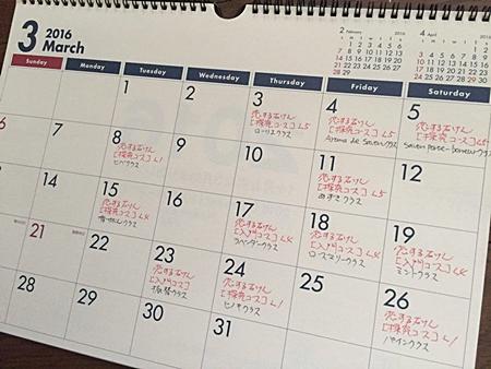 3月のフェールマヴィ レッスンスケジュール